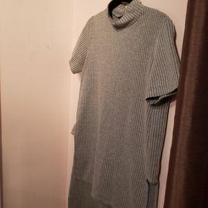 Zara pinstripe high/low mock neck top